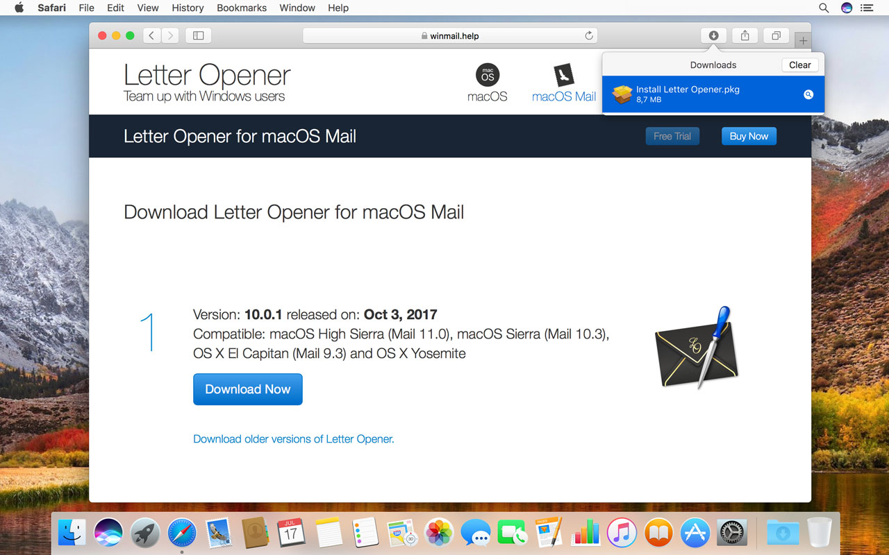 """Double-click """"Install Letter Opener.pkg"""" in Downloads"""
